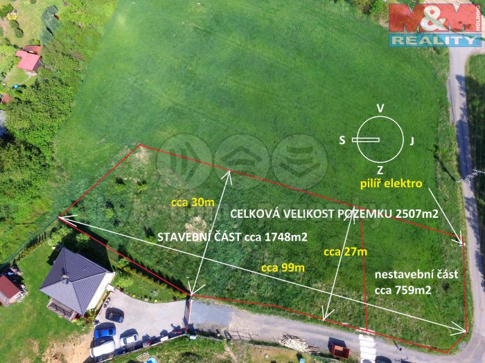 Prodej, stavební pozemek, 2506 m2, Mirošovice