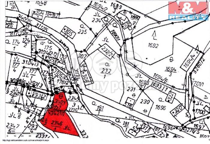 Prodej, stavební pozemek, 1622 m2, Křižany