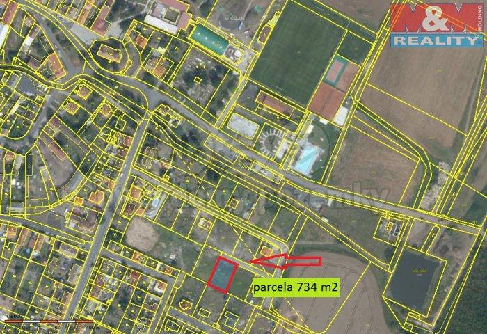 Prodej, stavební parcela, 734 m2, Strupčice, ul. Luční