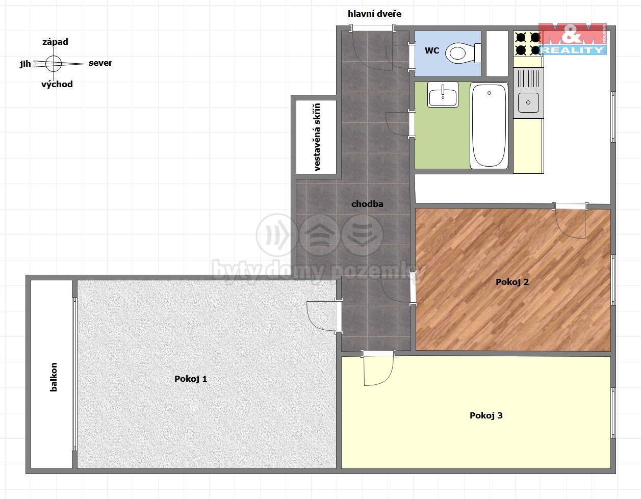 Prodej, byt 3+1, 66 m2, Ostrava - Poruba