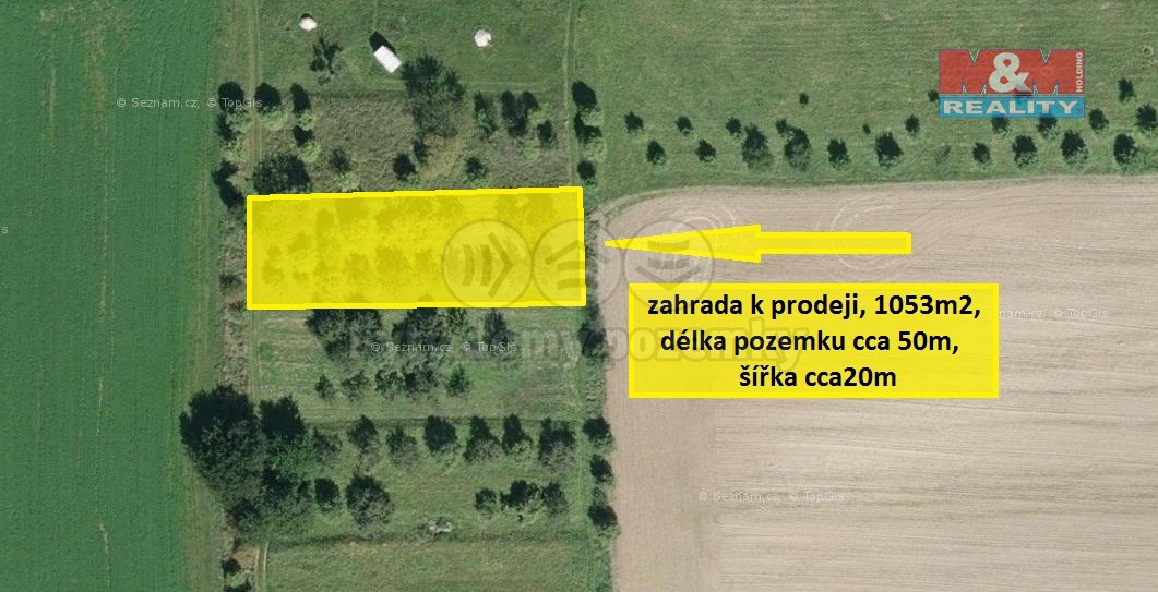 Prodej, zahrada, 1053 m2, Kvasice