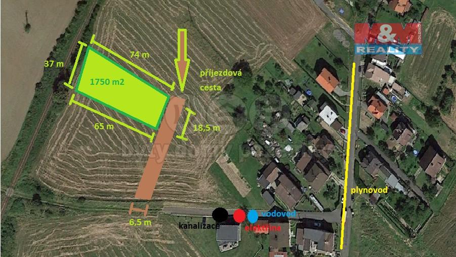 Prodej, stavební pozemek, 1750 m2, Chuchelná