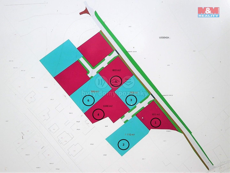 Prodej, stavební parcela, 998 m2, Stanovice