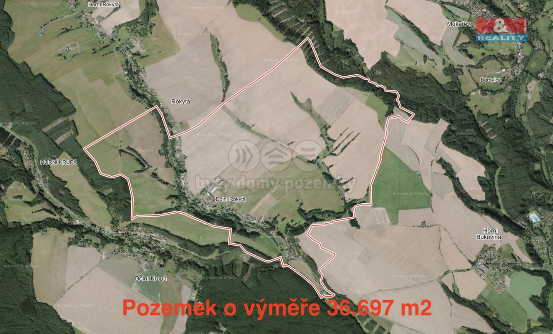 Prodej, pole, 36697 m2, Dolní Rokytá