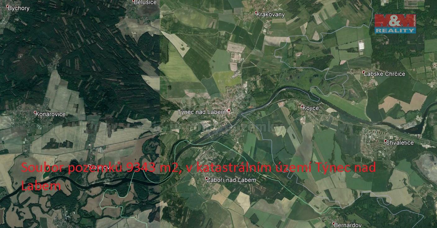 Prodej pole v Týnci nad Labem, 9343 m²