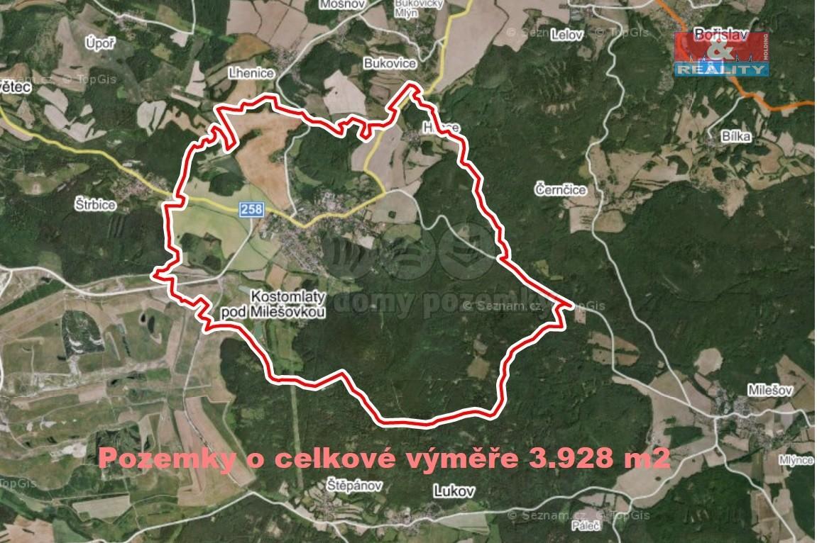 Prodej pole, 3928 m², Kostomlaty pod Milešovkou