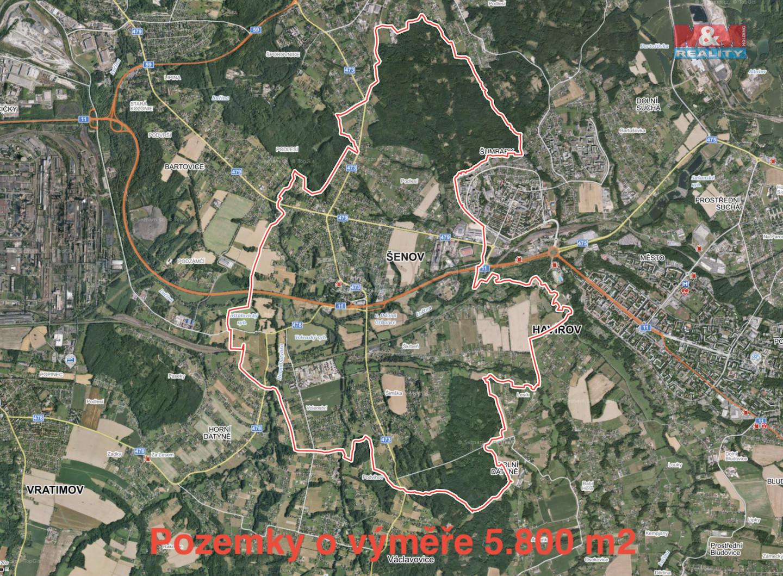 Prodej, louka, 5800 m2, Šenov u Ostravy