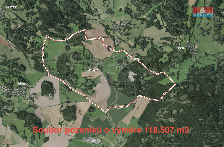 Prodej, louka, 118183 m2, Vlčkovice u Kolince