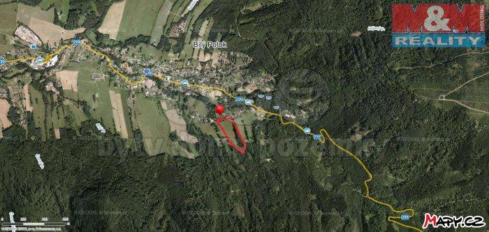 mapy (Prodej, zahrada 38 031 m2, Bílý Potok, Liberec), foto 1/4