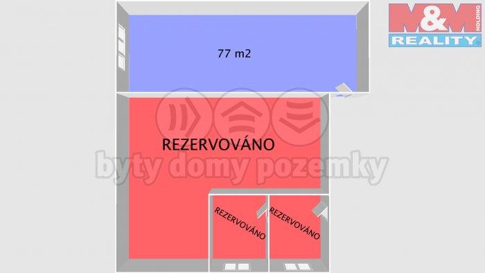 půdorys 77 (Pronájem, komerční prostory, 77 m2, Třinec, ul. 1. Máje), foto 1/3