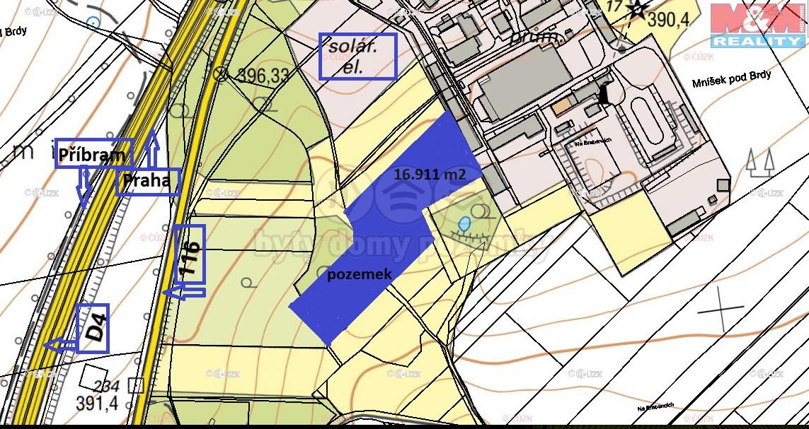 Prodej komerčního pozemku 16.881 m2, Mníšek pod Brdy
