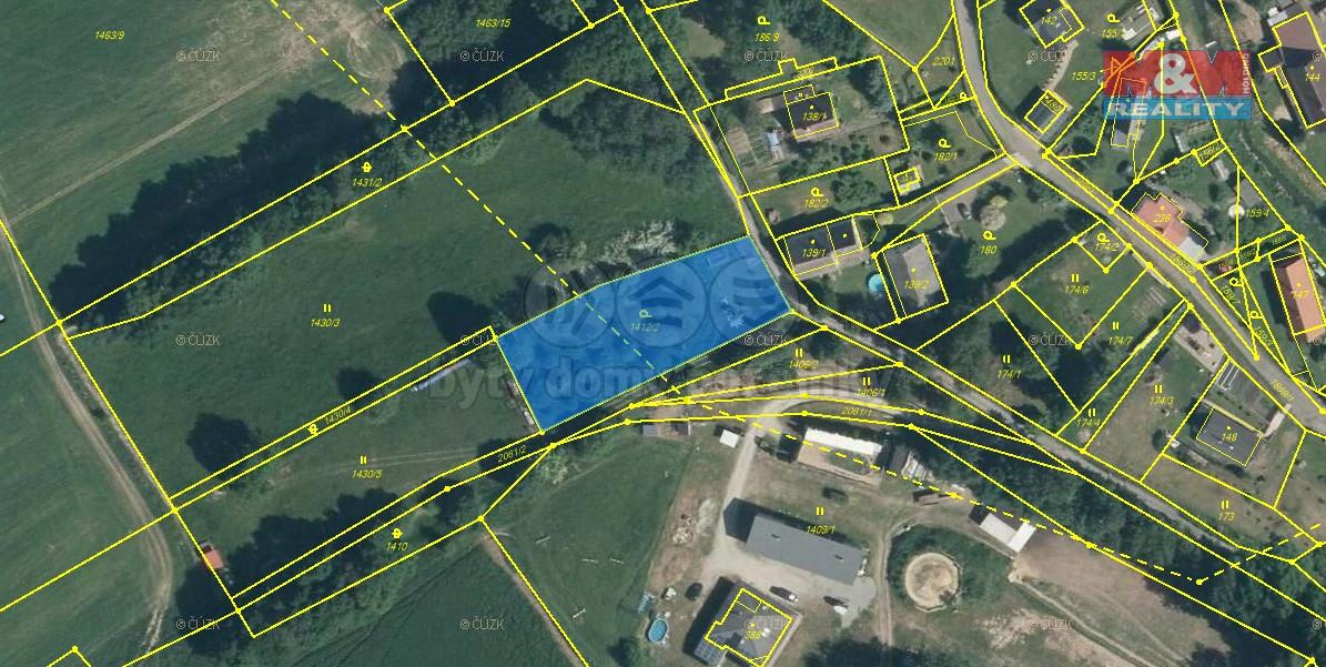 orto mapa (Prodej, stavební parcela, 1569 m2, Horní Libchava), foto 1/9