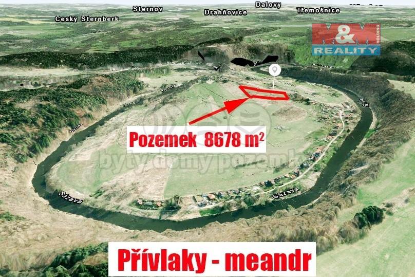 Prodej, stavební pozemek, 8678 m², Přívlaky u Sázavy