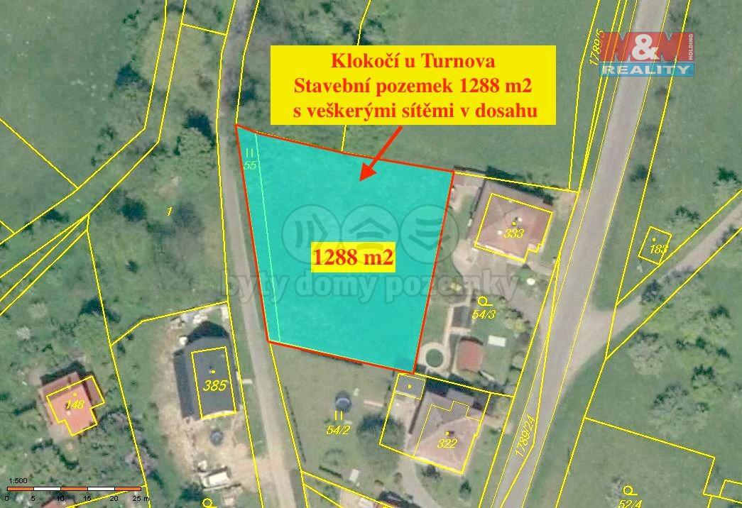 Prodej, stavební pozemek 1288 m2, Klokočí, Turnov