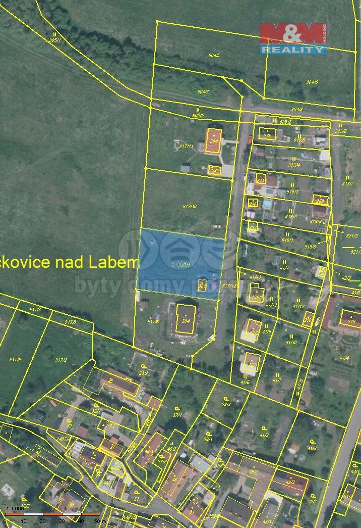Prodej, stavební parcela, 1414 m2, Prackovice nad Labem