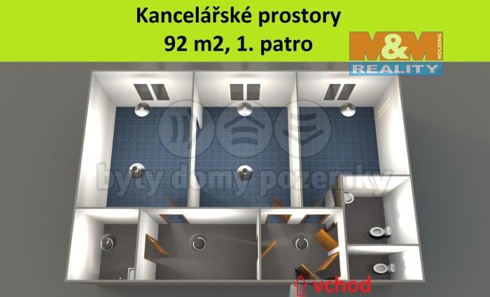 Pronájem, kancelářské prostory, 92 m2, Plzeň - centrum
