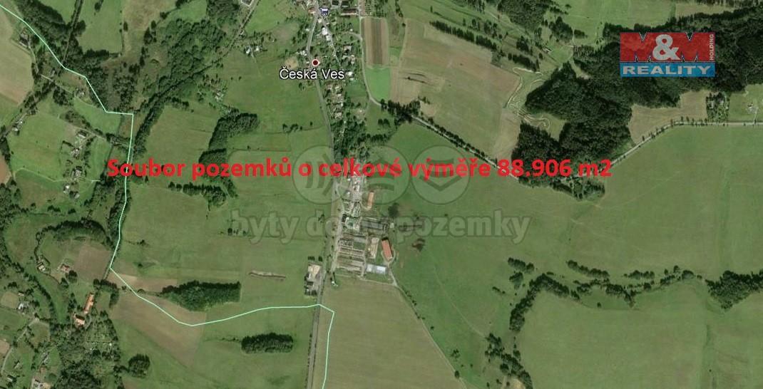 Prodej, louka, 88906 m2, Česká Ves v Podještědí