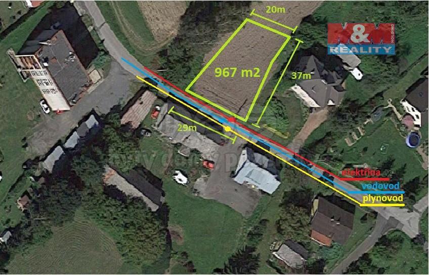 Prodej, stavební pozemek, 967m2, Dolní Lutyně, na Vrchách