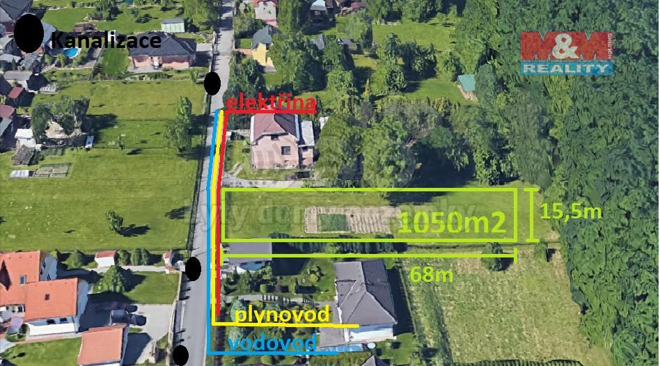 Prodej, stavební pozemek, 1050 m2, Petřvald u Karviné