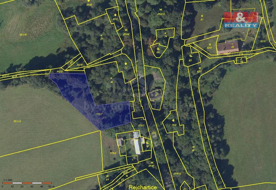 Prodej, pozemek, 2066 m2, Dvorce - Rejchartice