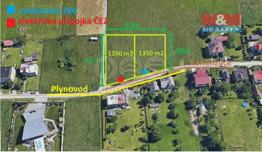 Prodej, stavební pozemek, 1350 m2, Šenov
