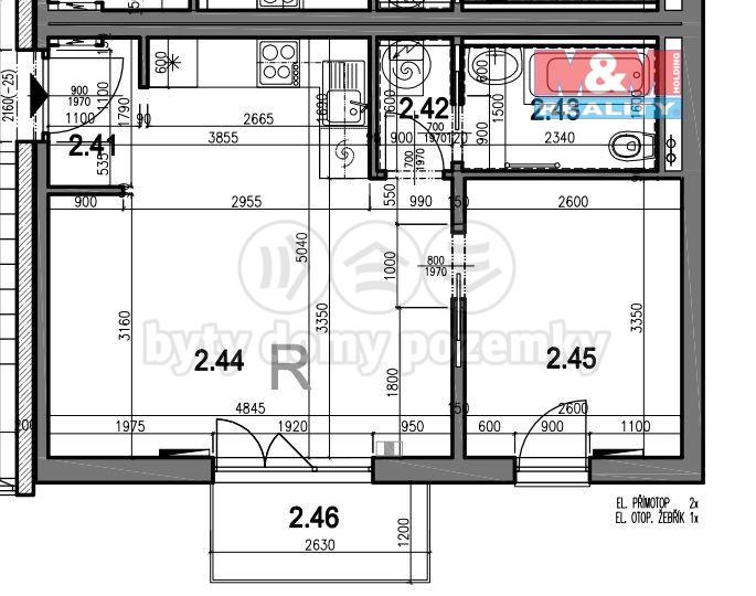 Prodej, byt 2+kk, Brno - Dolní Heršpice, ul. Bernáčkova