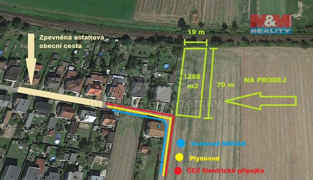 Prodej, stavební pozemek, 1288 m2, Dolní Benešov