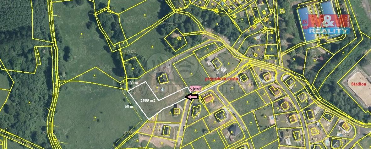 2555 (Prodej, stavební parcela 2555 m2, Povrly, ul. Na Palouku), foto 1/16