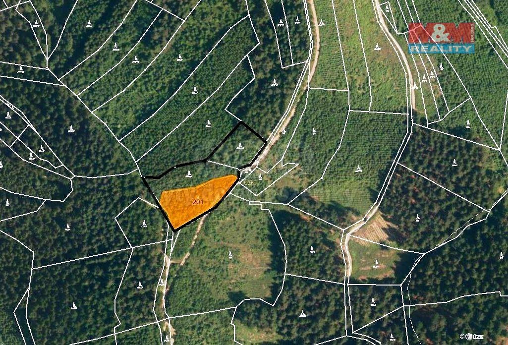 Prodej, les, 5837 m2, Lhota u Vsetína