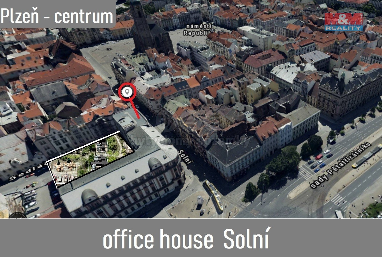 Pronájem, kancelářské prostory, 834 m2, Plzeň, ul. Solní