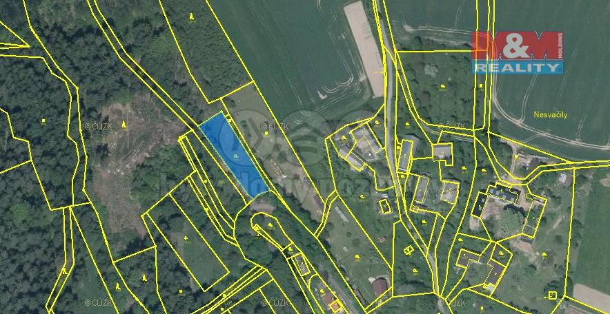mapa pozemek (Prodej, zahrada, Všelibice, Nesvačily)