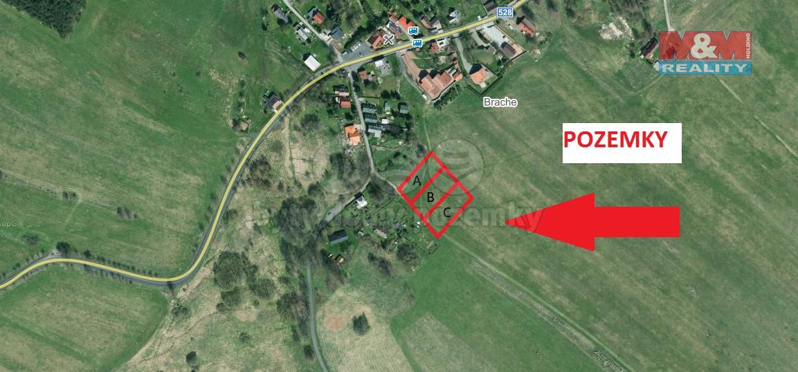 satelitní pohled na pozemek (Prodej, stavební pozemek, 1 132 m2, Tisá), foto 1/9