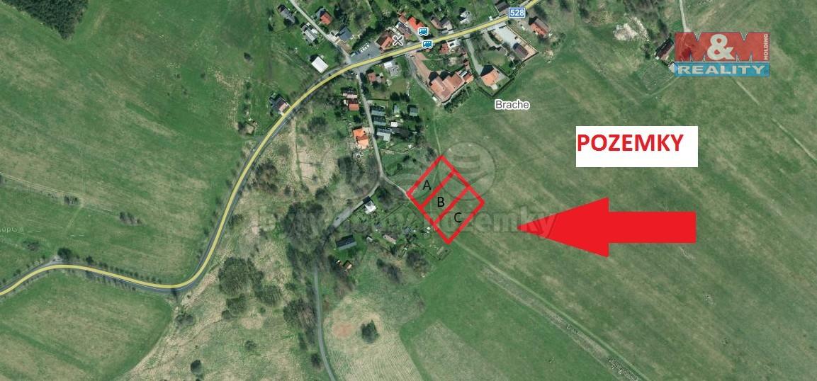 satelitní pohled na pozemek (Prodej, stavební pozemek, 1 100 m2, Tisá), foto 1/9