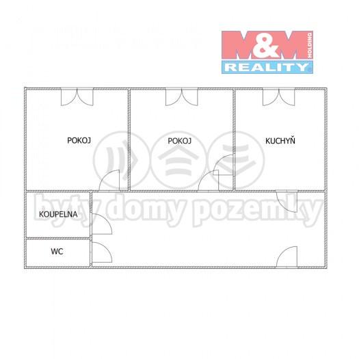 Pronájem, byt 2+1, 44 m2, Olomouc, ul. Stiborova