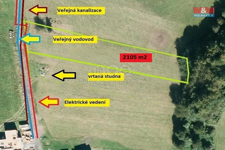 Prodej, stavební pozemek, 2105 m², Hutisko - Solanec