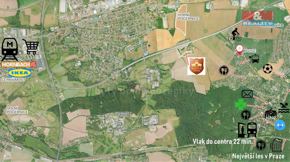 Mapa okolí Prodej, rodinný dům, 997 m², Praha, ul. Úprkova