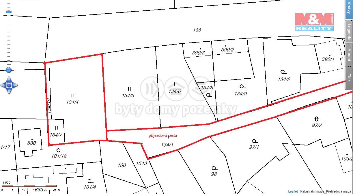 Prodej, stavební parcela, 1071 m2, Budyně nad Ohří