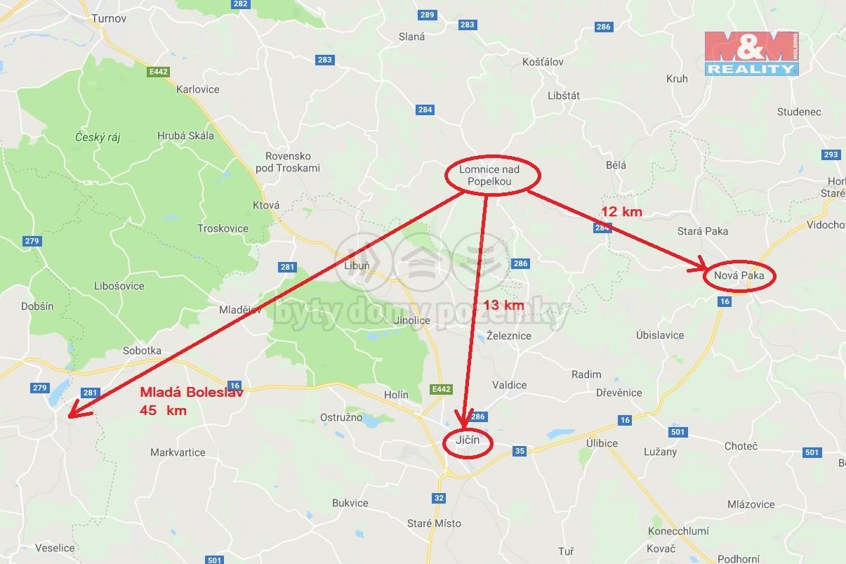 mapa vzdálenosti