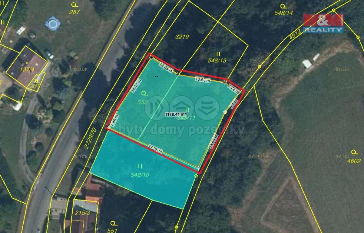 Prodej, stavební pozemek, 1169 m2, Vendolí