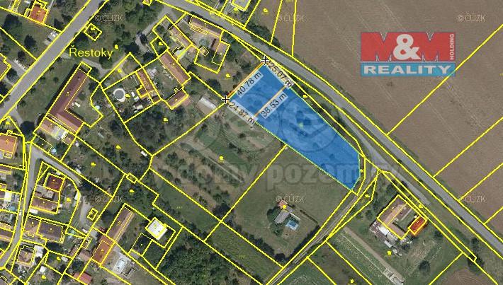Prodej, pozemek, 1390 m2, Řestoky