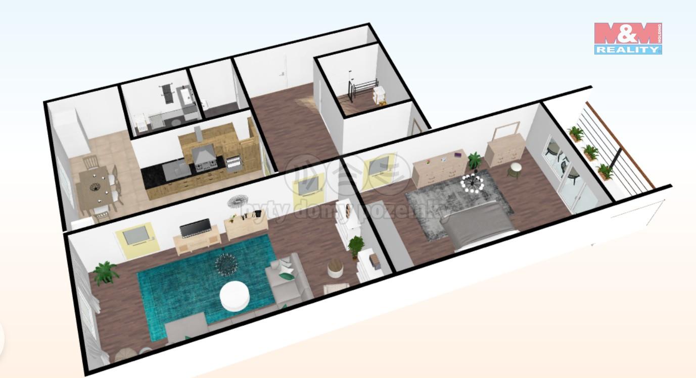 Prodej, byt 2+1, 64 m2, DV, Chomutov, ul. 17. listopadu