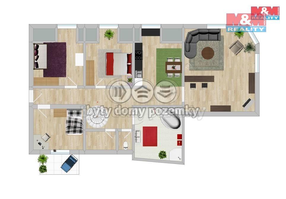 Prodej, byt 4+1, Brno, ul. Tržní
