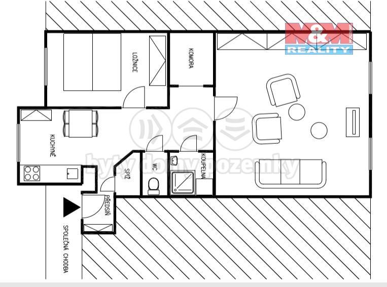 Pronájem, byt 2+1, 70 m², Brno, ul. Jana Uhra