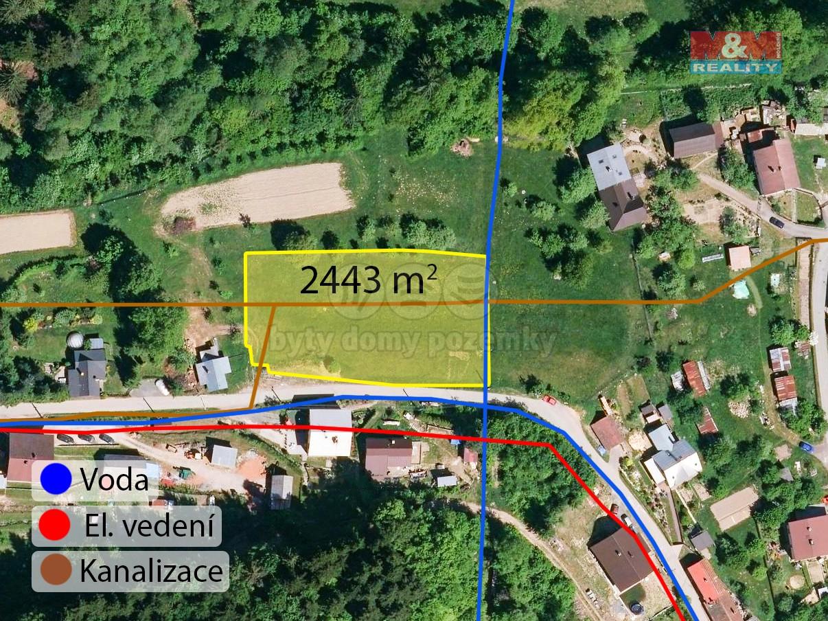 Prodej, pozemek k bydlení, 2443 m2, Lidečko
