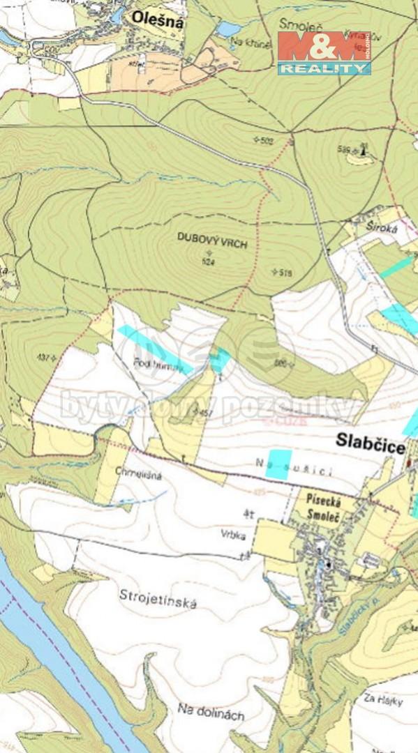 Prodej pole, 90786 m², Slabčice, okres Písek