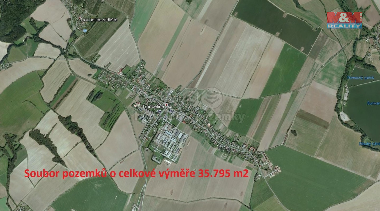 Prodej, pole, 35795 m2, Troubelice