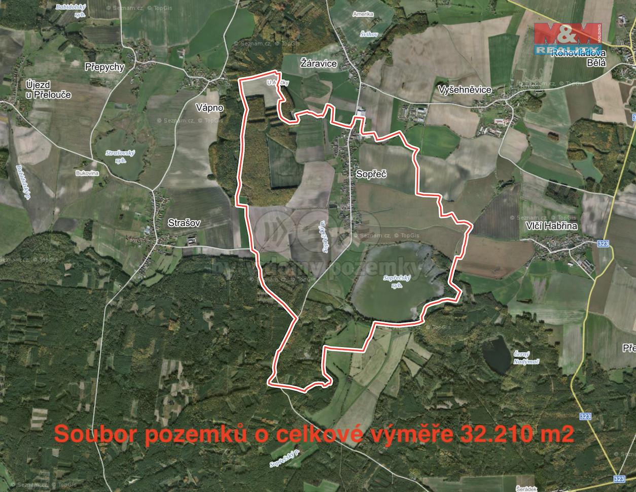 Prodej pole, 32210 m², Sopřeč