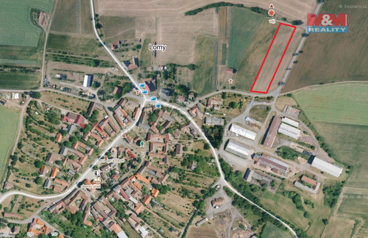 Prodej pole, 4718 m², Lomy