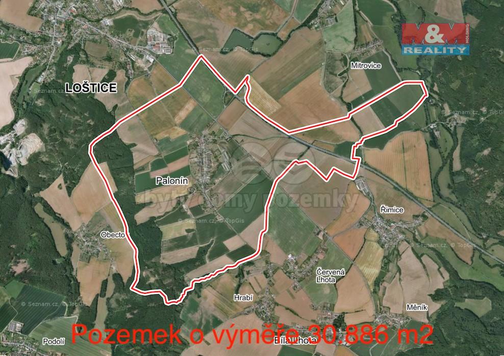 Prodej pole, 30886 m², Palonín