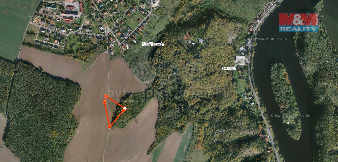Prodej pozemků pole a les, 9147 m², Davle